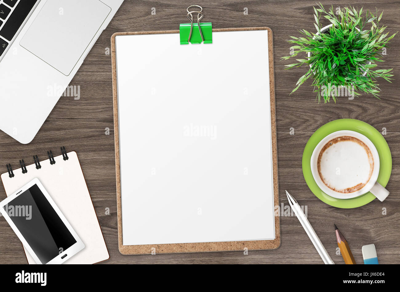 white empty clipboard on office desk top view Stock Photo: 153806300 ...
