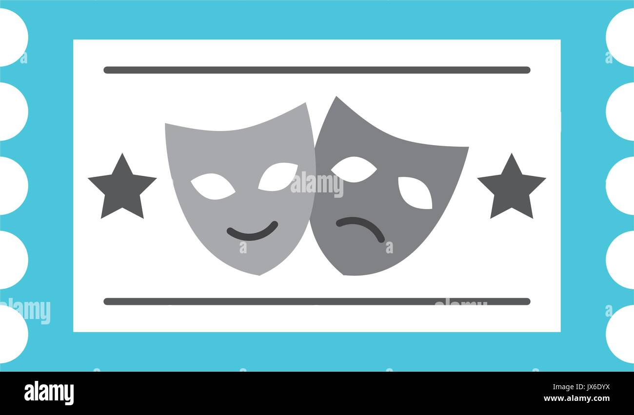 postal seal with theater masks isolated icon - Stock Vector
