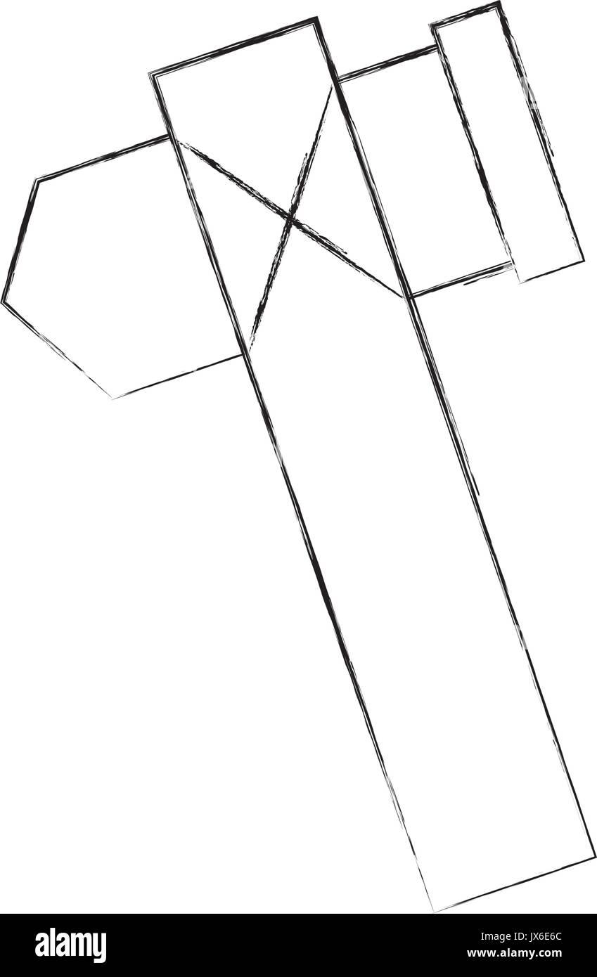 Paleolithic ax isolated icon - Stock Image