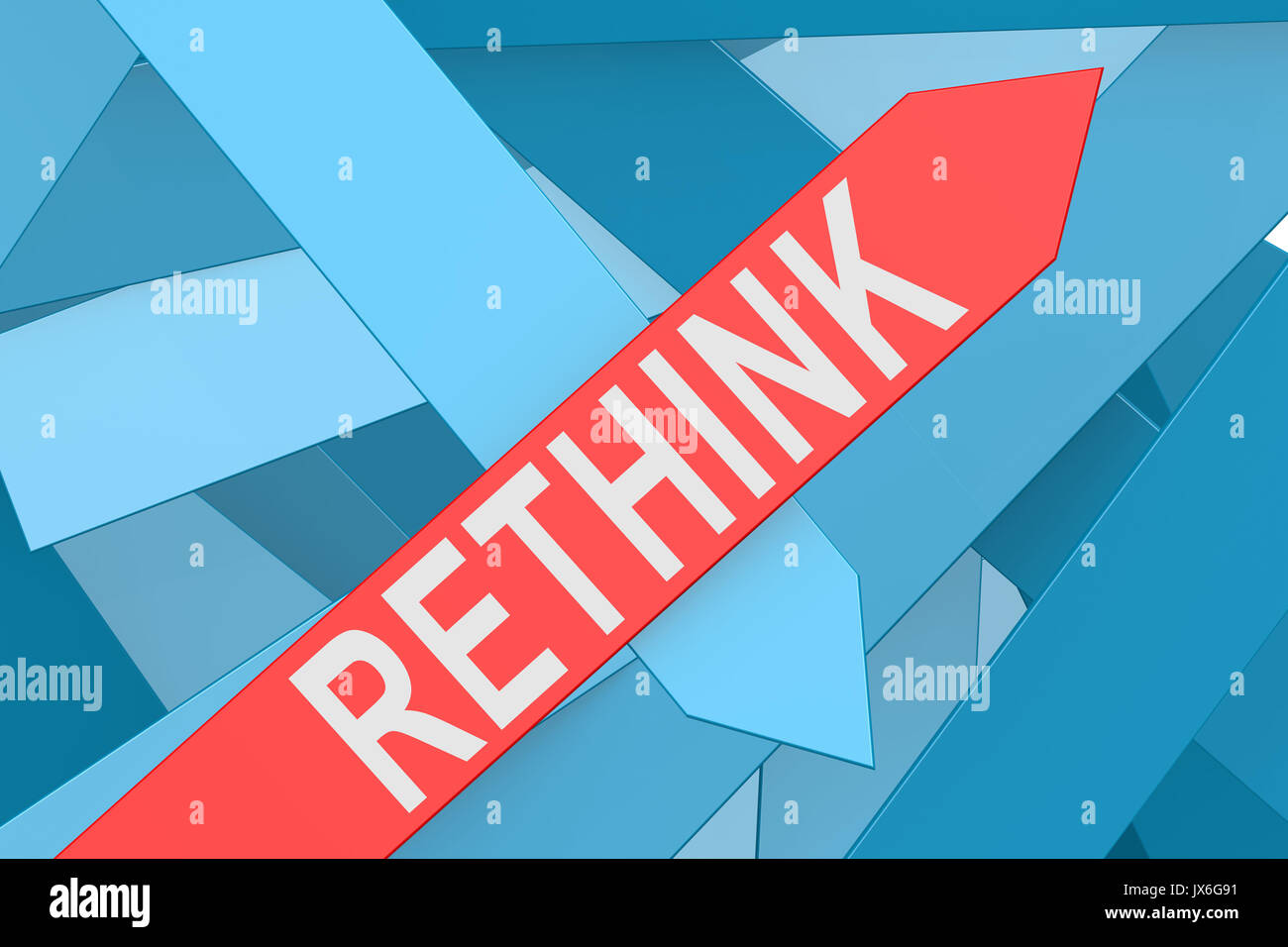 Rethink word on red arrow pointing upward, 3d rendering - Stock Image