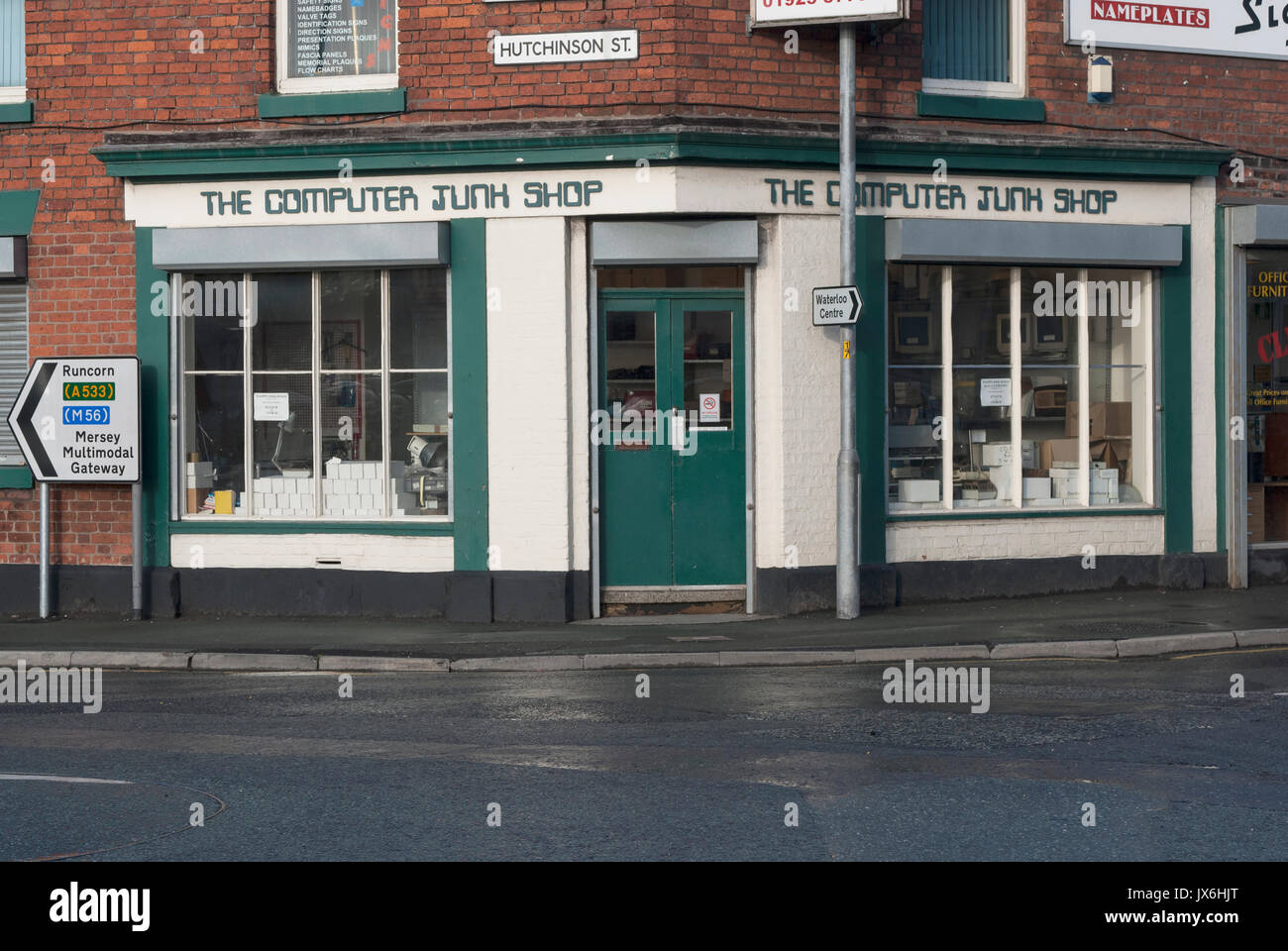 The Computer Junk Shop was situated in West Bank, Widnes, until it was demolished to make way for the  Mersey Gateway Bridge approach road. - Stock Image