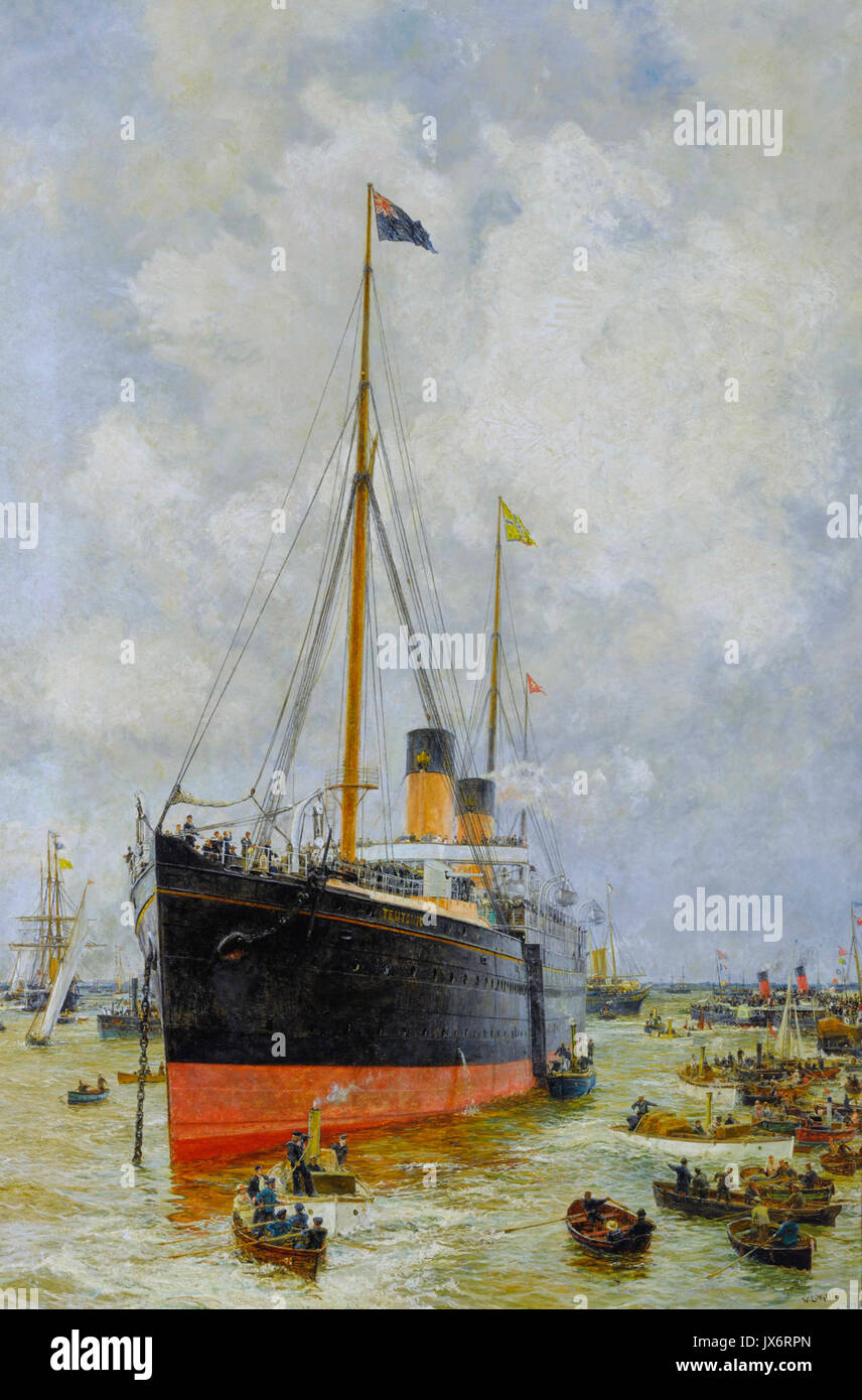 The Teutonic mercantile armed cruiser, White Star Line, by William Lionel Wyllie - Stock Image