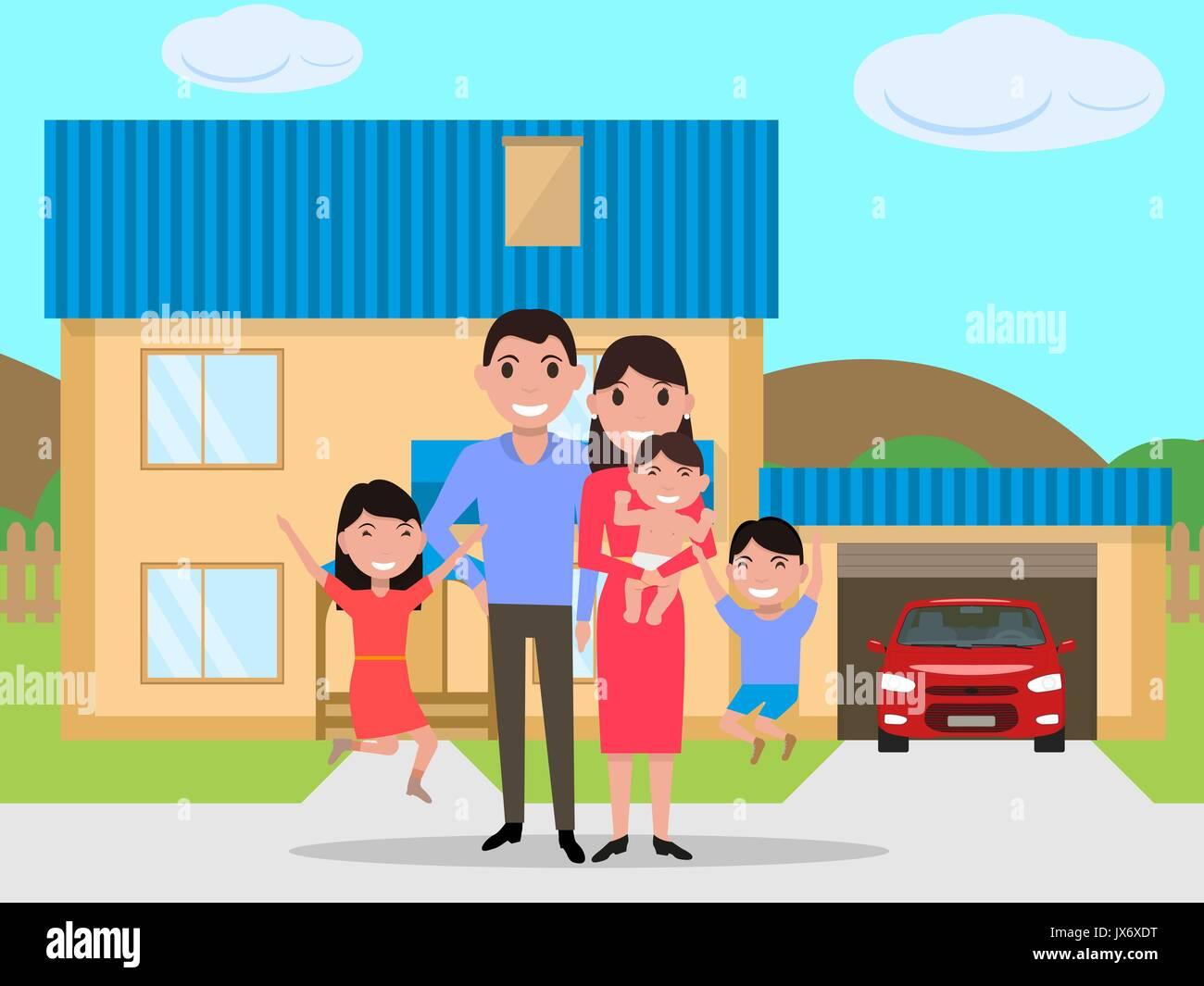Vector cartoon happy family bought a new house - Stock Vector
