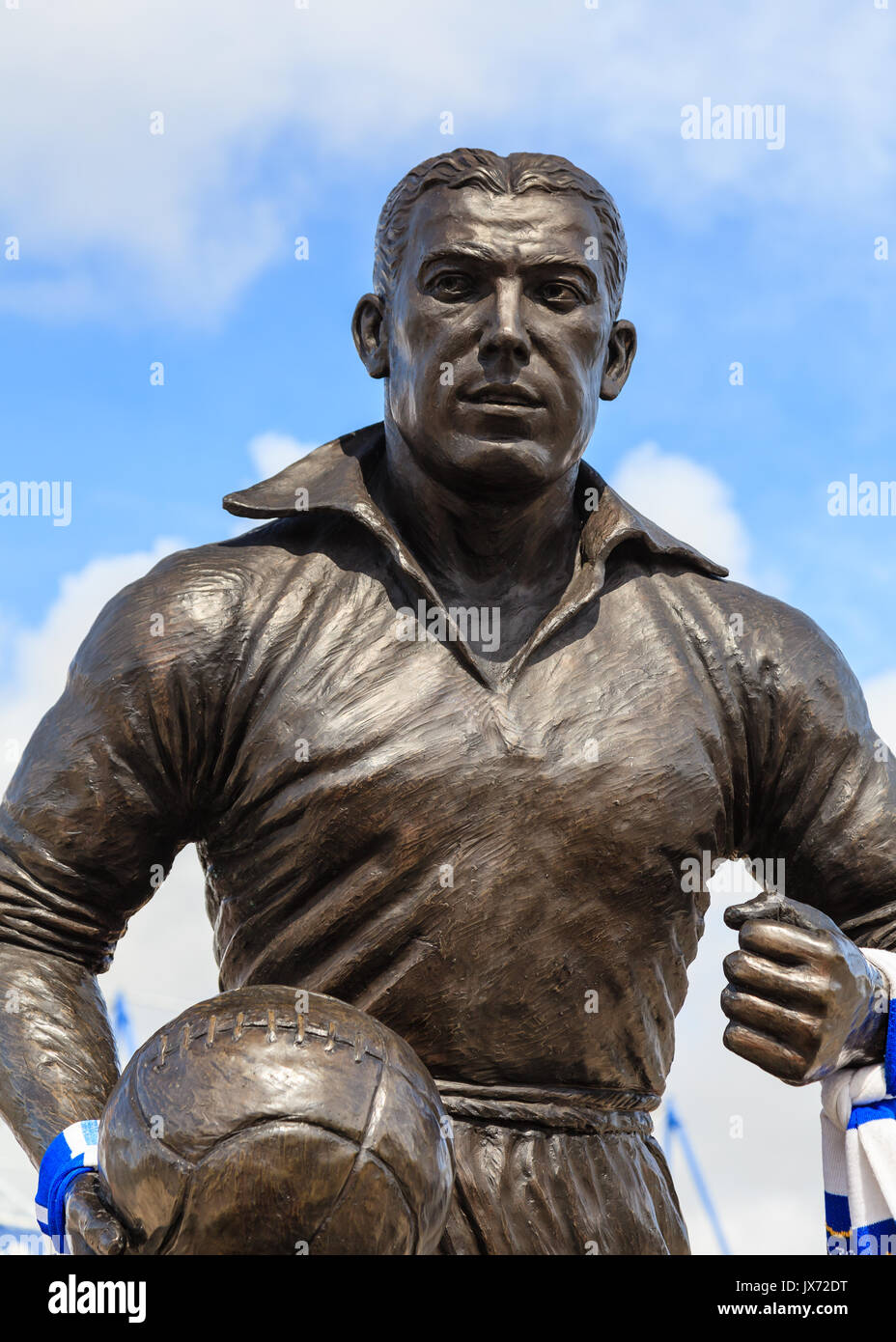 A statue of Dixie Dean footballer and goalscorer outside Goodison Park in England.  It celebrates his contribution Stock Photo
