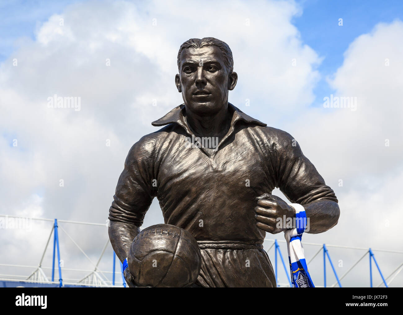 A statue of Dixie Dean footballer and goalscorer outside Goodison Park in England.  It celebrates his contribution to Everton Football Club. - Stock Image