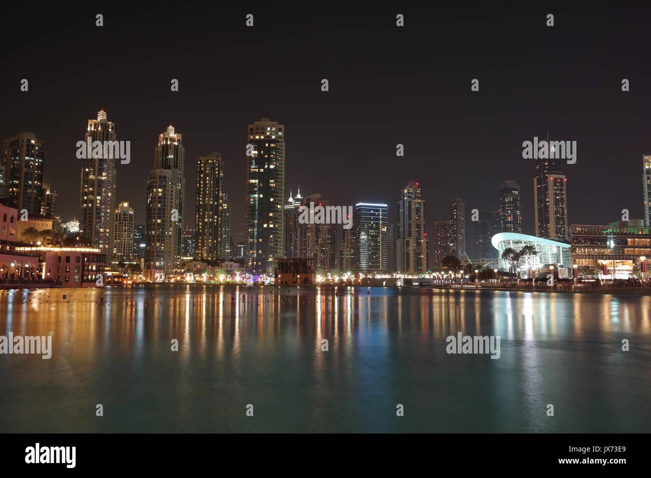 Souk Al Bahar shopping center at nighttime - Stock Image