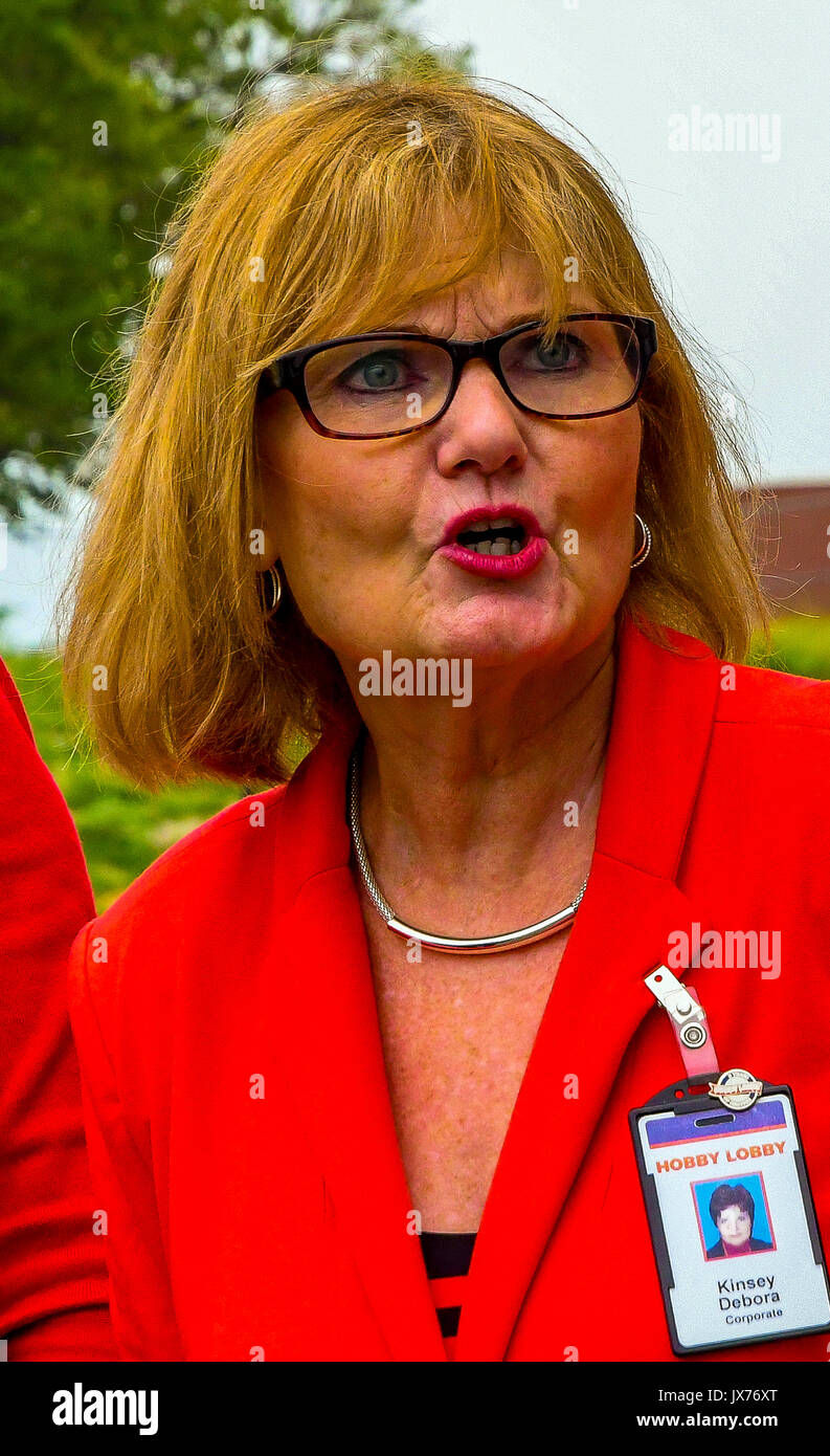 Debora Kinsey a corporate representive of Hobby Lobby at the grand opening of the newest store today in Emporia, Kansas August 13. 2017. - Stock Image