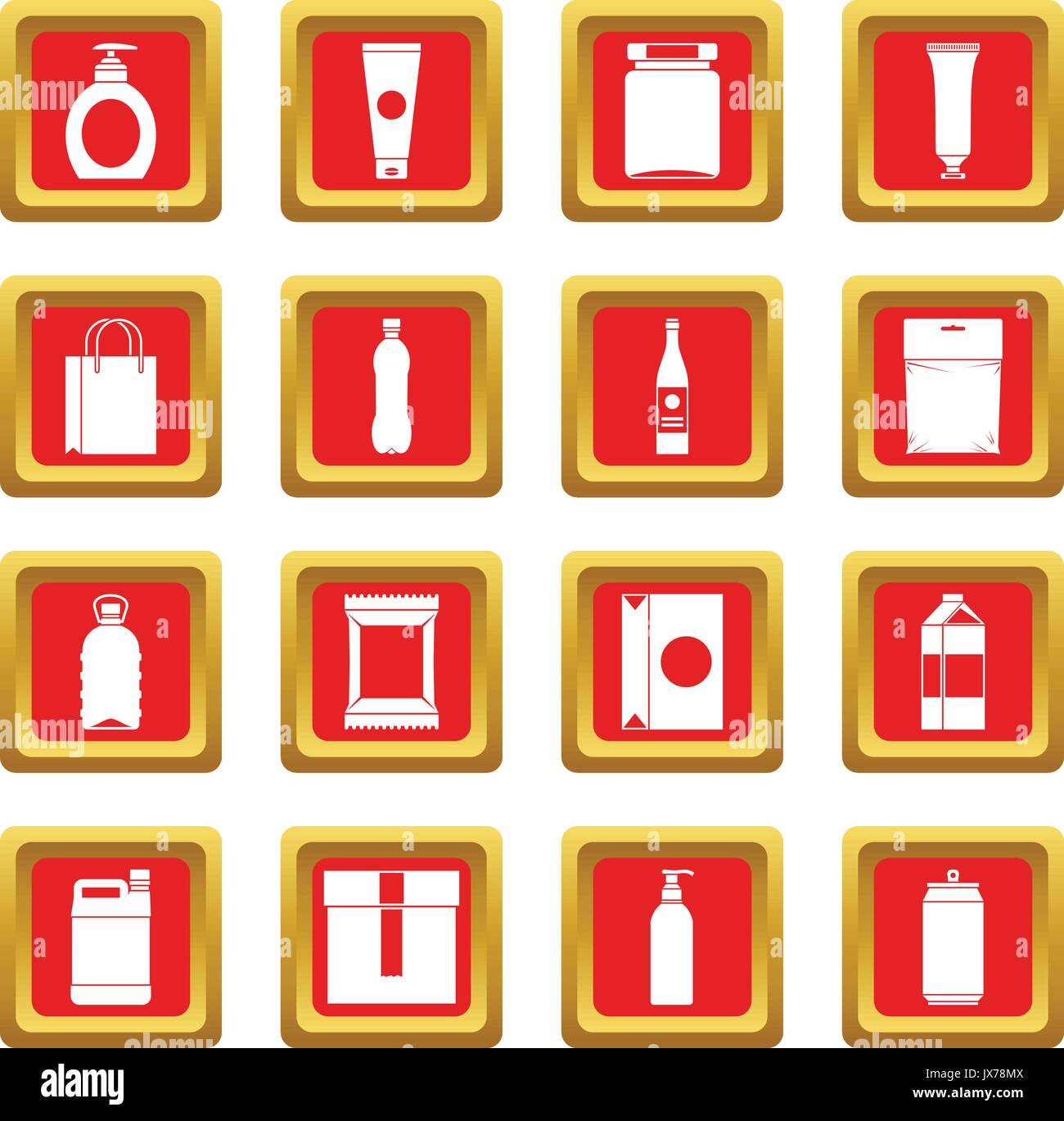 Packaging items icons set red - Stock Image