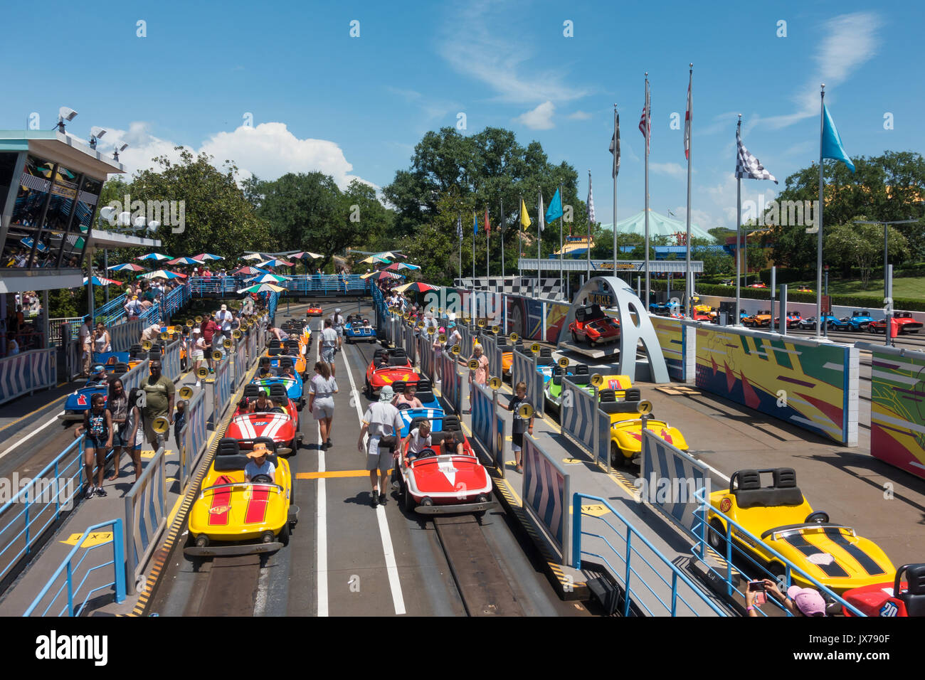 Tomorrowland Speedway in Magic Kingdom Theme Park, Walt Disney World, Orlando, Florida. - Stock Image