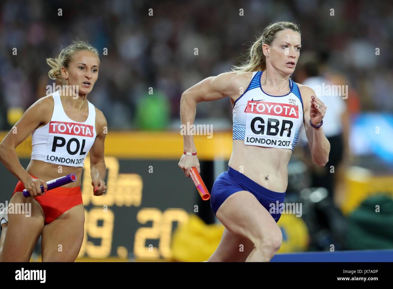 Eilidh DOYLE (Great Britain) & Aleksandra GAWORSKA (Poland) running the third leg in the Women's 4 x 400m Final at the 2017 IAAF World Championships, Queen Elizabeth Olympic Park, Stratford, London, UK. - Stock Image