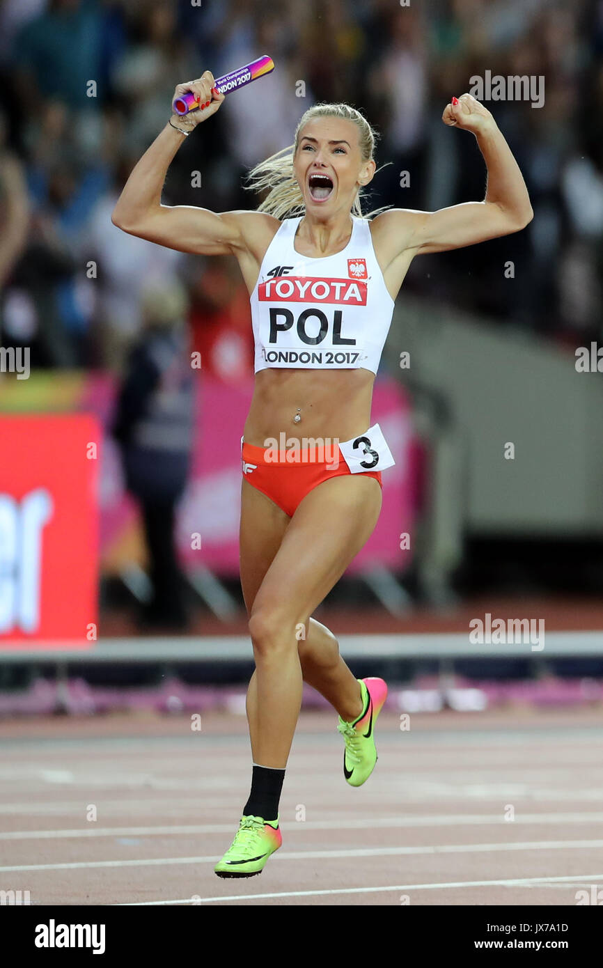 Justyna SWIETY (Poland) running the final leg in the Women's 4 x 400m Final at the 2017 IAAF World Championships, Queen Elizabeth Olympic Park, Stratford, London, UK. - Stock Image