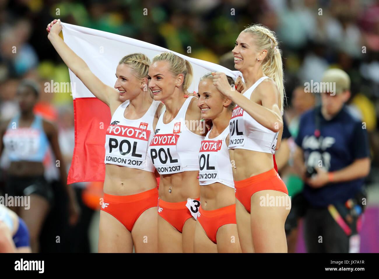 MalgorzataHOLUB, IgaBAUMGART, AleksandraGAWORSKA, JustynaSWIETY (Poland) celebrate Bronze medal in the Women's 4 x 400m Final at the 2017 IAAF World Championships, Queen Elizabeth Olympic Park, Stratford, London, UK - Stock Image