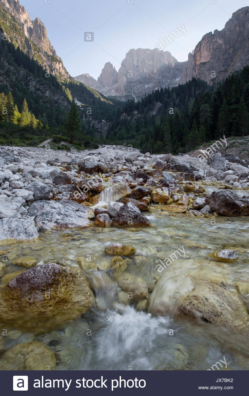 A river streams over rocks in Val Canali. - Stock Image