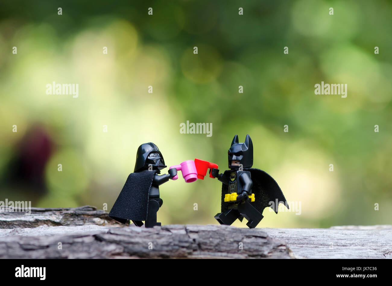 lego batman and darth vader having a toss - Stock Image