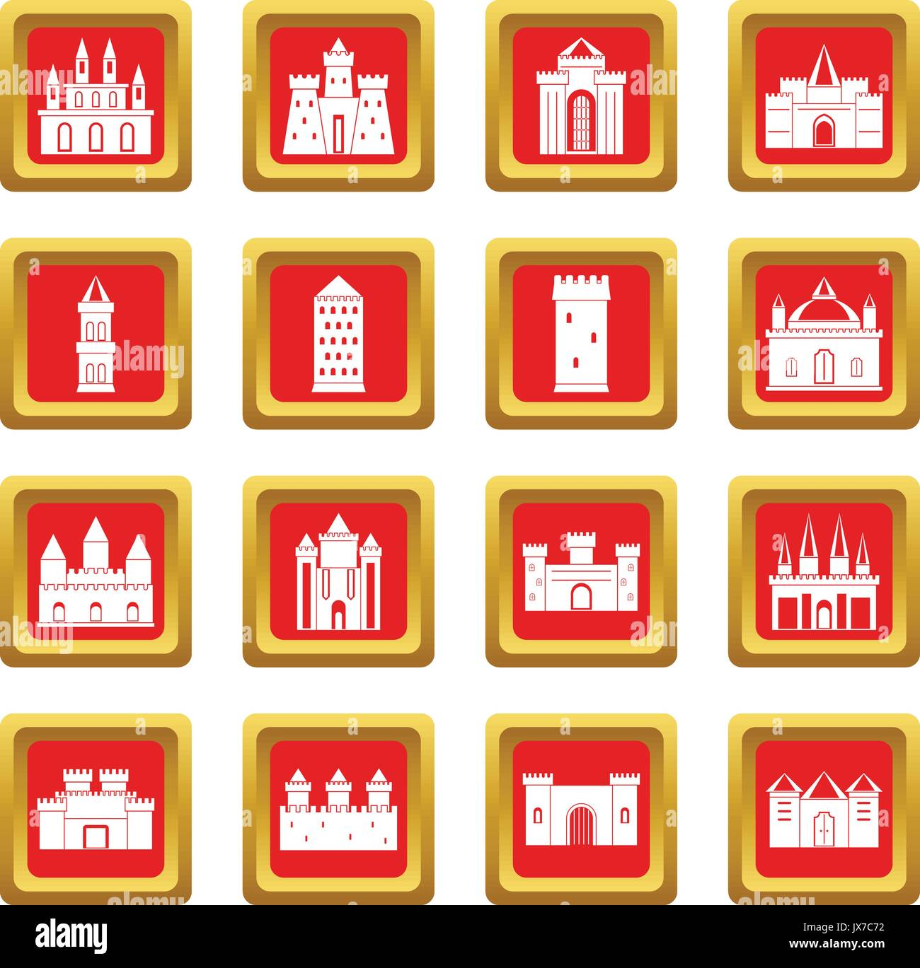 Towers and castles icons set red - Stock Vector