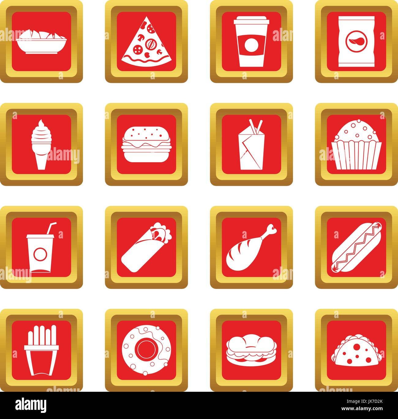 Fast food icons set red - Stock Vector