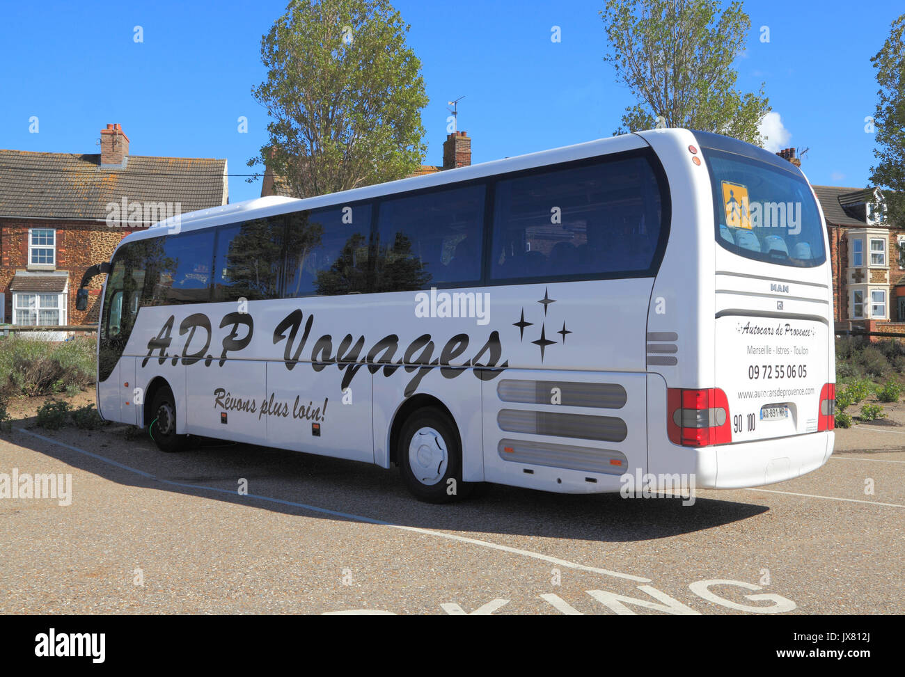 A. D. P. Voyages, Autocars de Provence, France, coach, coaches, holidays, excusion, excursions, travel company, companies, trips, transport, England, - Stock Image