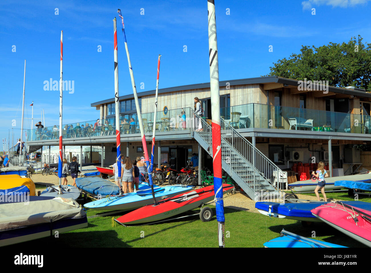 Brancaster Sailing Club, clubhouse, Brancaster Staithe, Norfolk, England, UK , sailing clubs, coast, coastal, English - Stock Image