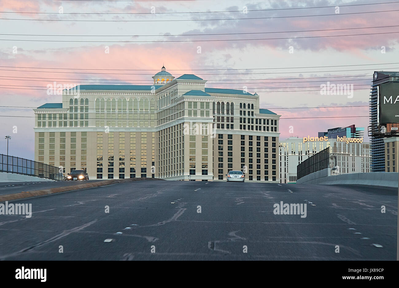 Las Vegas,  driving over the bridge with a distant view of Bellagio Hotel, Casino - Stock Image