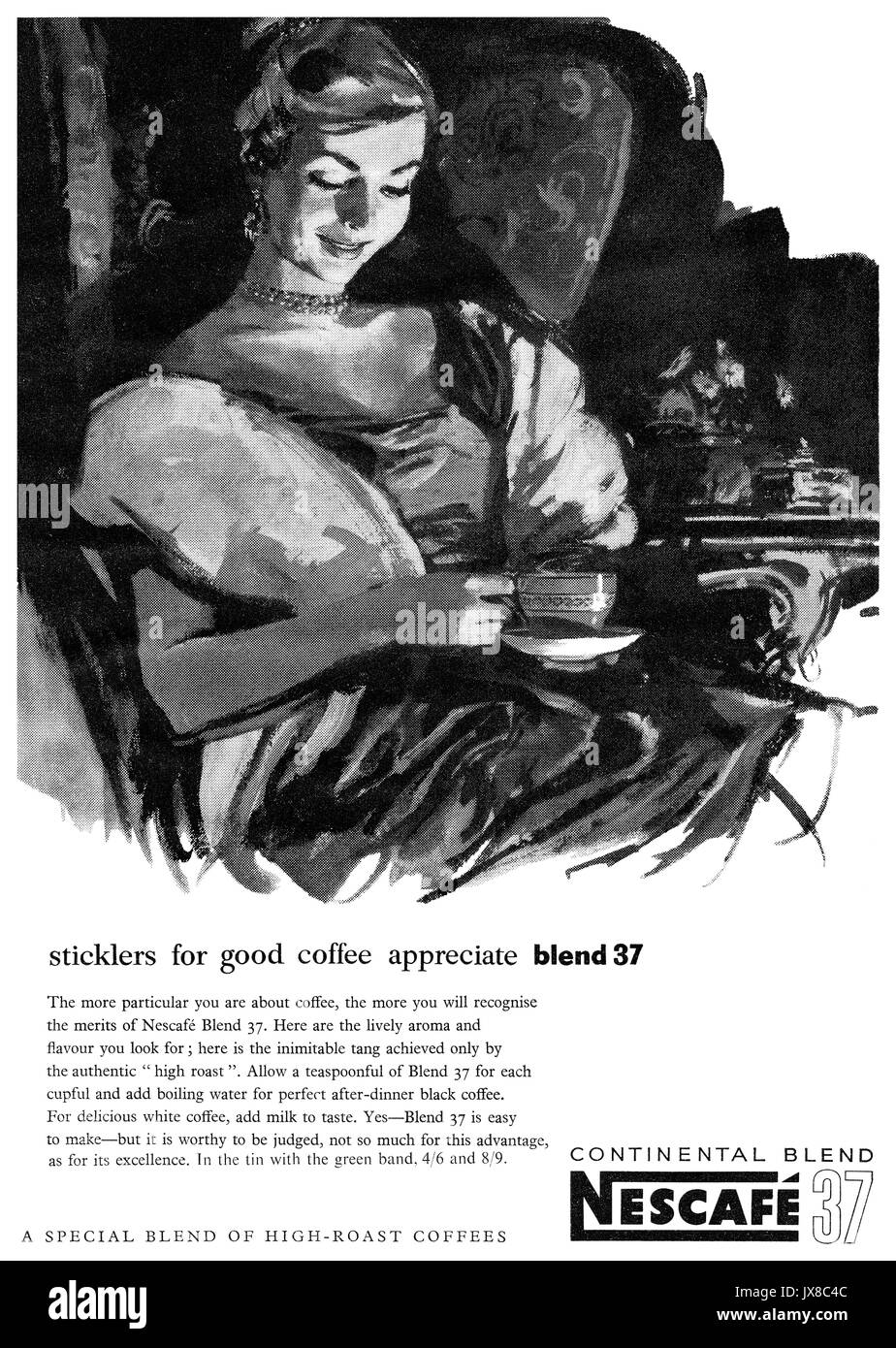 1959 British advertisement for Nescafé Blend 37 coffee. - Stock Image