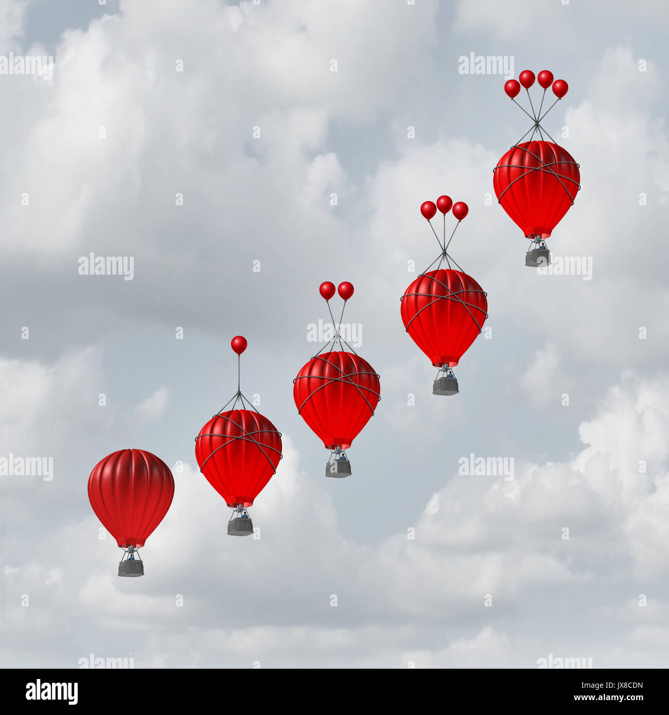 Competitive advantage increase concept as a group of rising hot air balloons with increasing amount of assistance to beat the competition. - Stock Image