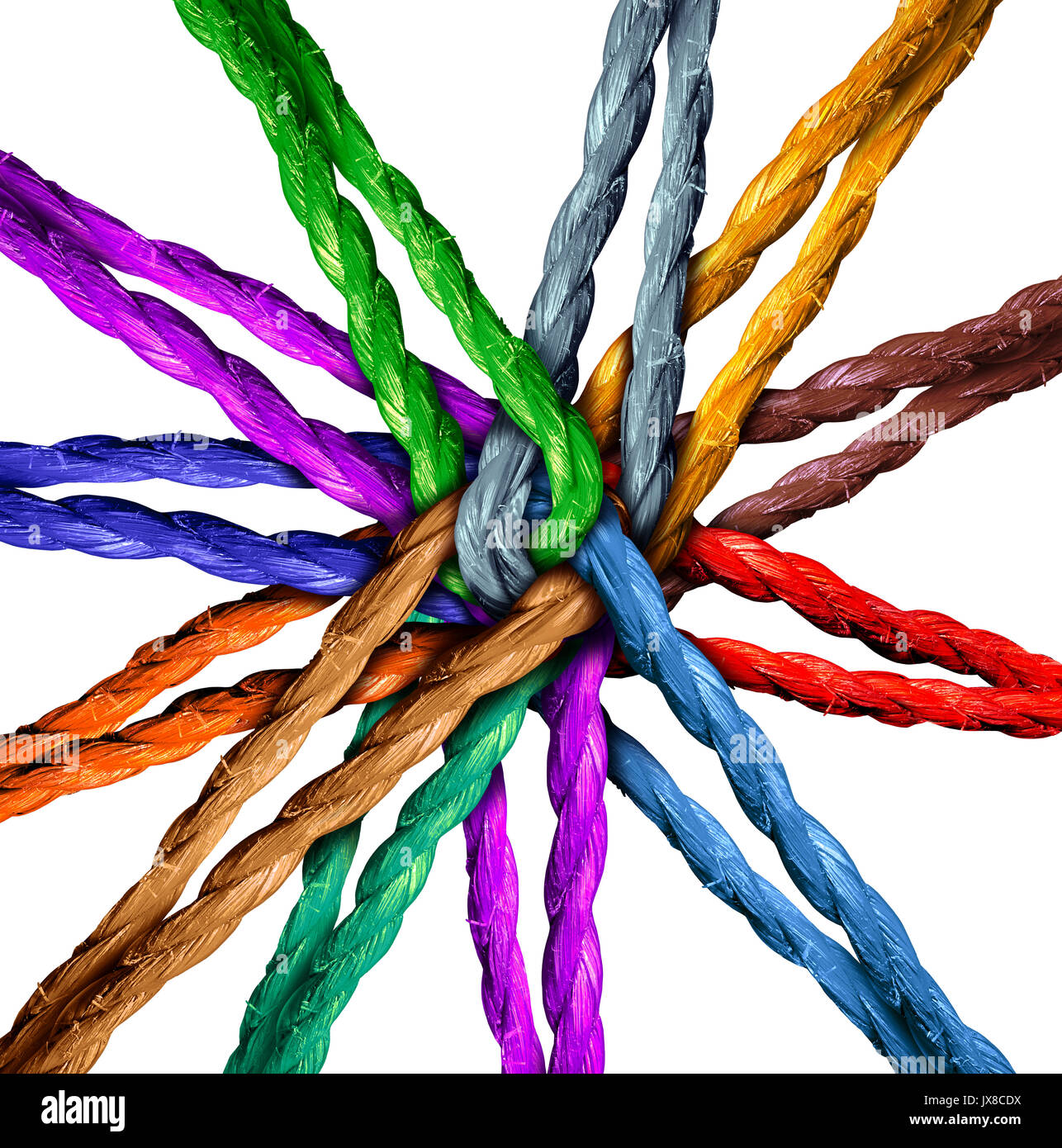 Connected team central network connection business concept as a group of diverse ropes connected in the center 0as - Stock Image