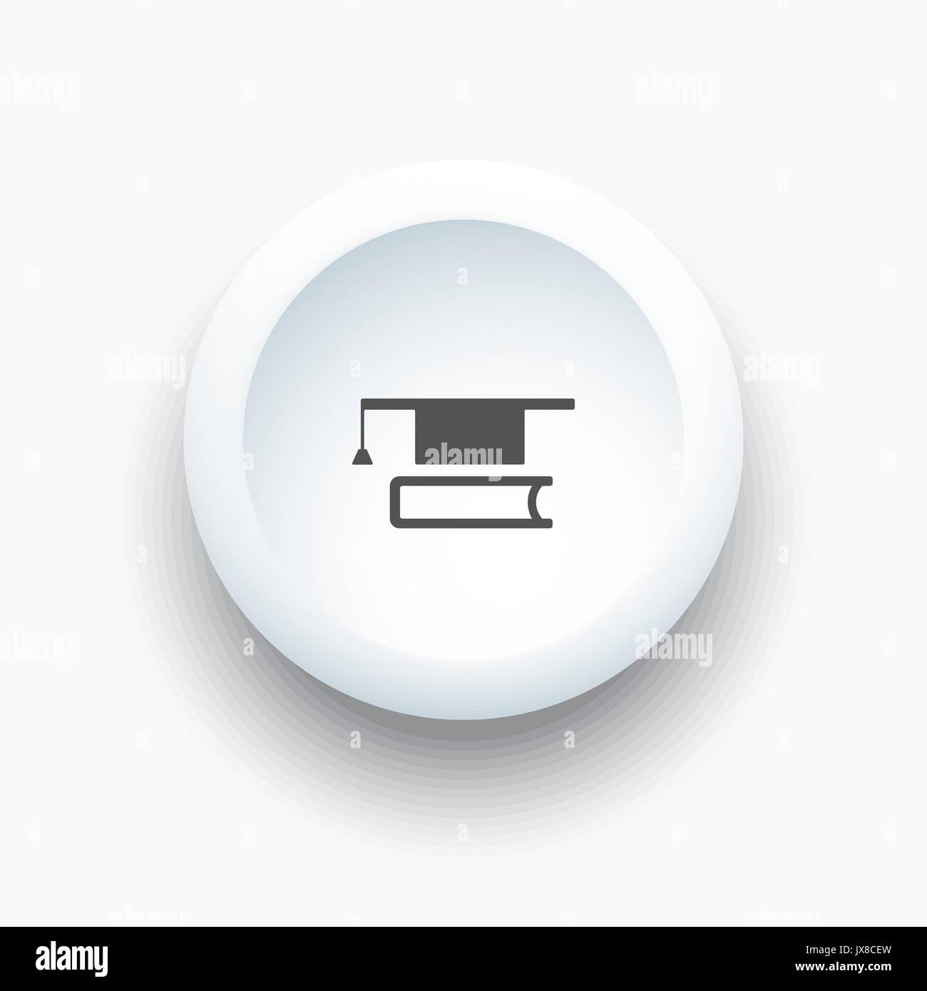 Mortarboard with book icon on a white 3D button illustration - Stock Image
