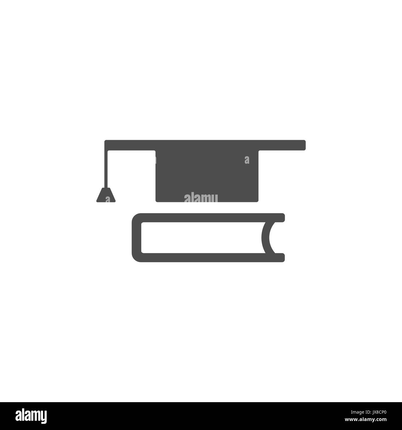 Mortaboark with book icon on white background illustration - Stock Image