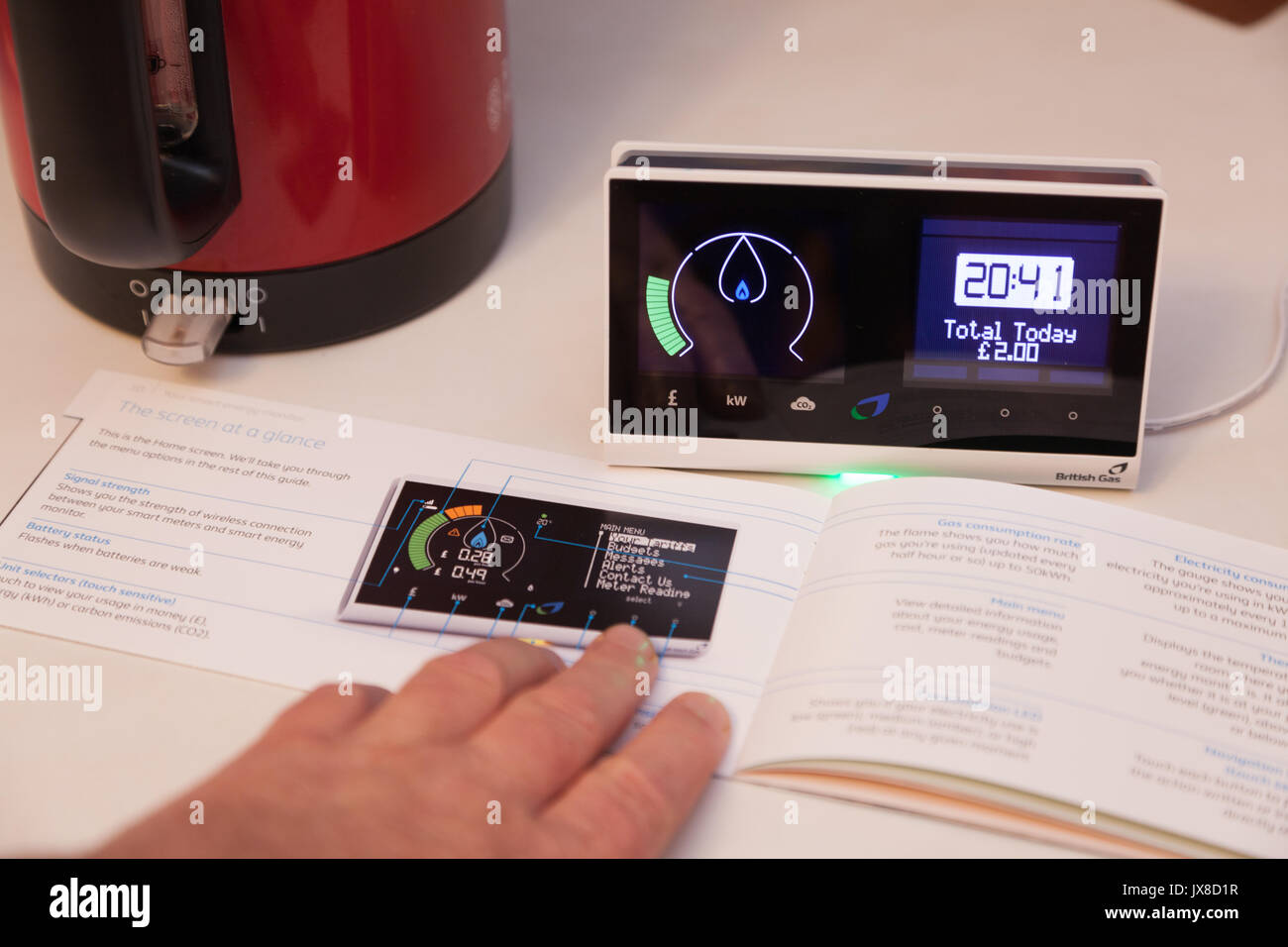 A new consumer Smart Meter provided by British gas,  part of a government led national upgrade scheme to improve energy efficiency in Great Britain. - Stock Image