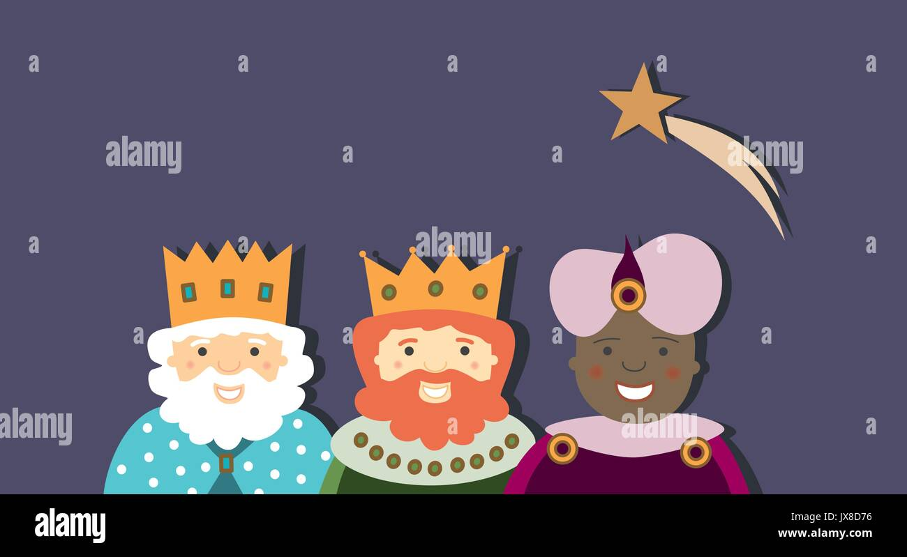 Three kings and star in the sky - Stock Vector