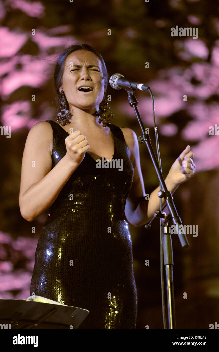 Casas de Reina, Spain - august 13, 2017: Celia Romero with the Spanish  folk band Acetre in the regina theater, - Stock Image