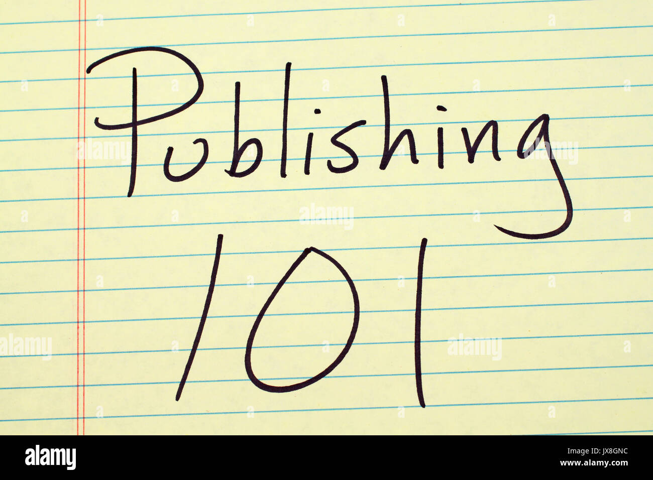 The words 'Publishing 101' on a yellow legal pad - Stock Image