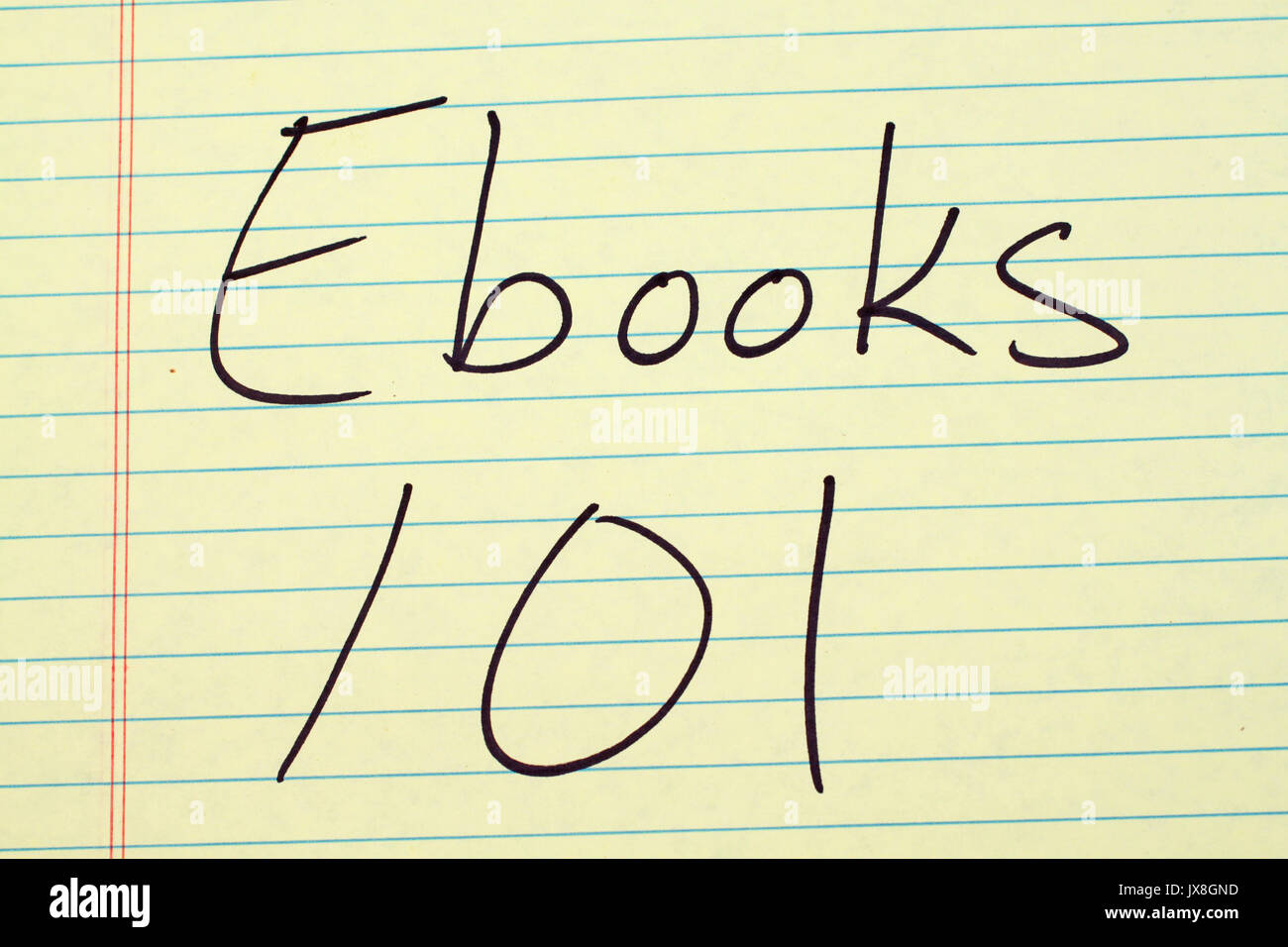 The words 'Ebooks 101' on a yellow legal pad - Stock Image