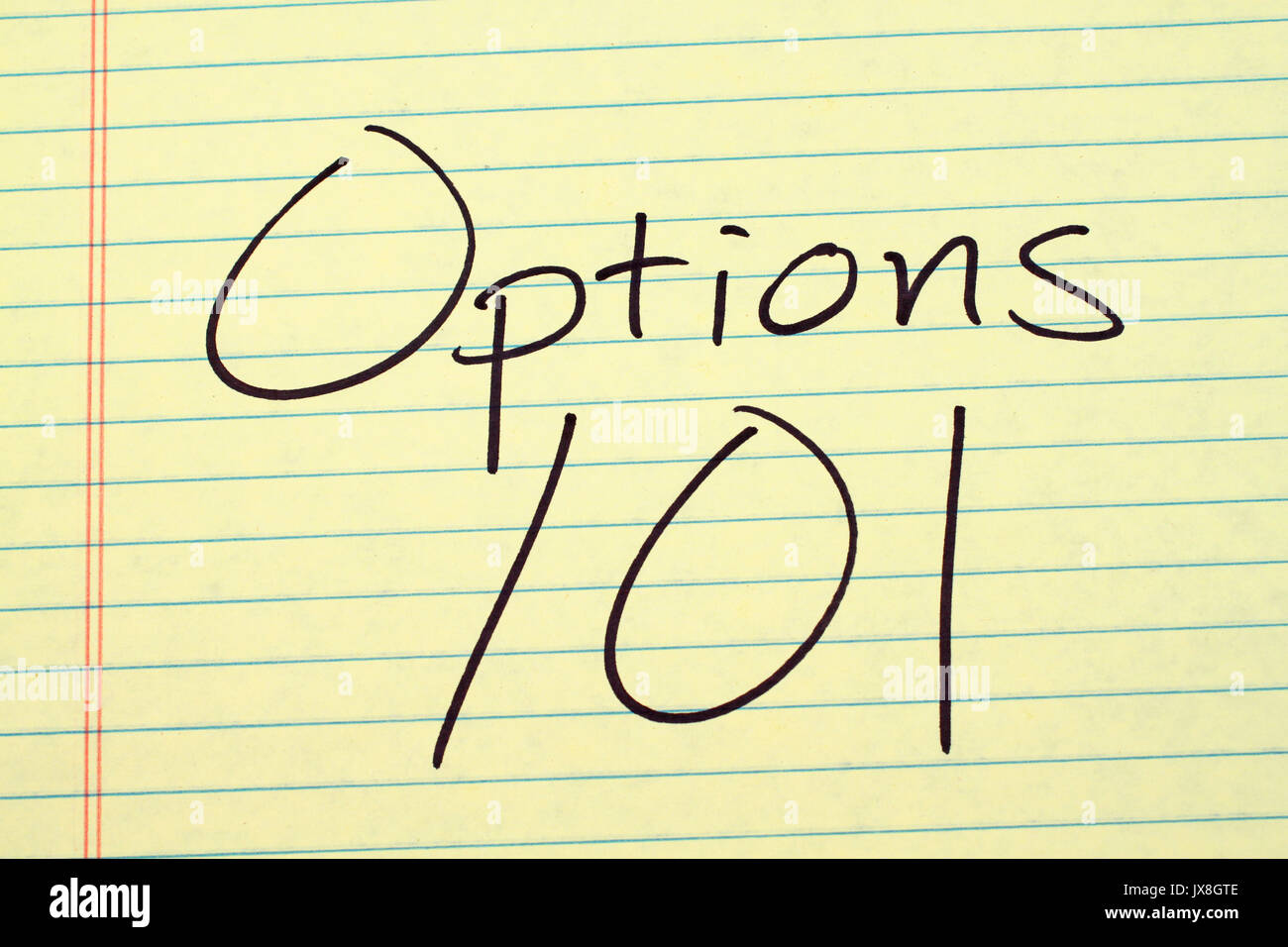 The words 'Options 101' on a yellow legal pad - Stock Image