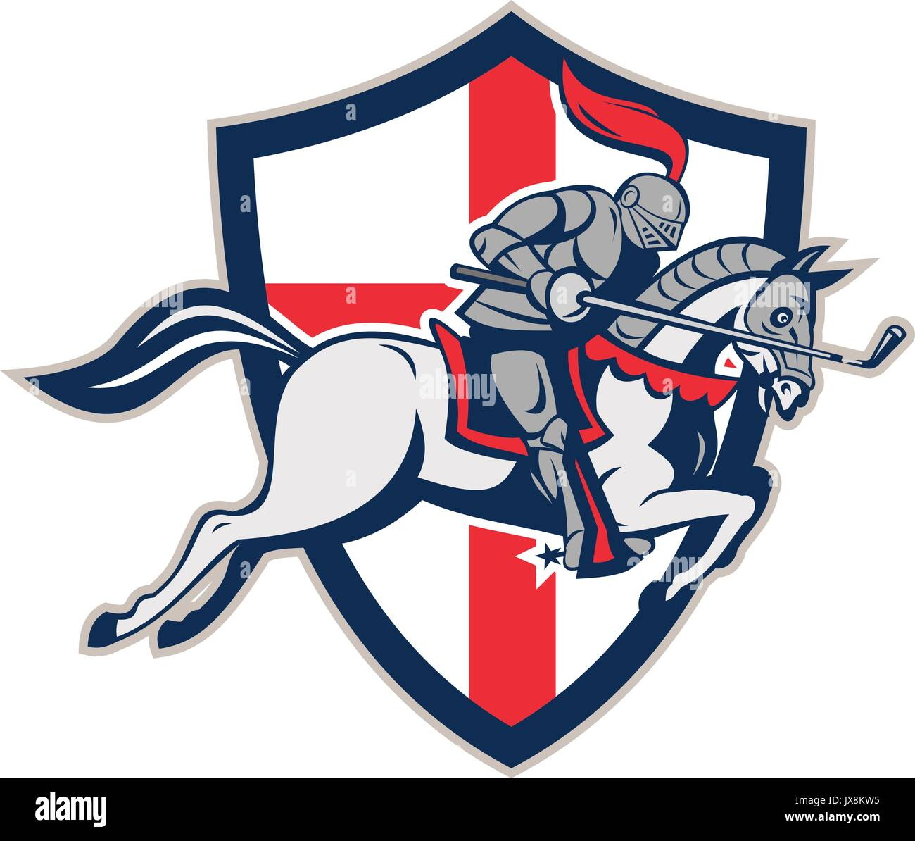 Illustration of an English knight in full armor riding a horse armed with golf club like a lance and England flag in background done in retro style. - Stock Vector
