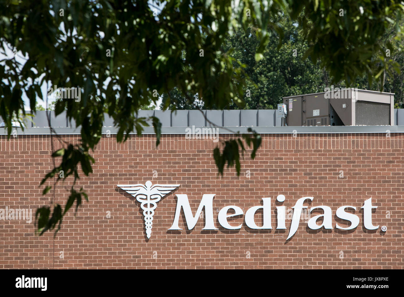 A logo sign outside of a facility occupied by Medifast, Inc., in Owings Mills, Maryland, on August 13, 2017. - Stock Image