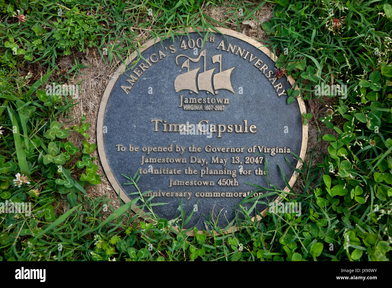 Time capsule at Jamestown Settlement - Stock Image