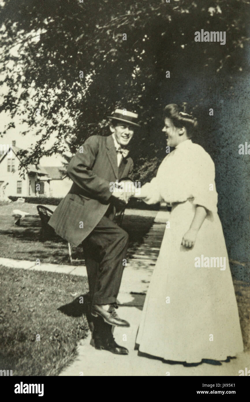 Women and men having fun. Minnesota 1907 1908 Stock Photo