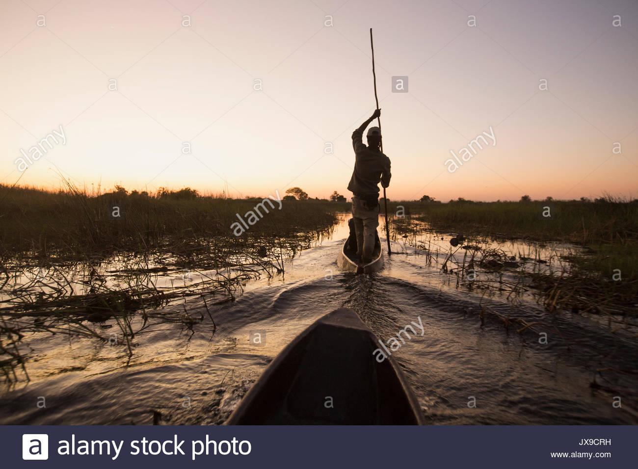 Travelers take Mokoros, or dugout canoes to travel around the Okavango Delta. - Stock Image