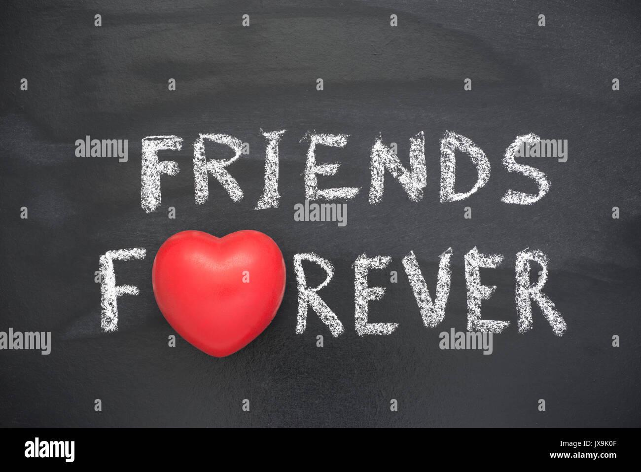 Friends Forever Phrase Handwritten On Blackboard With Heart Symbol
