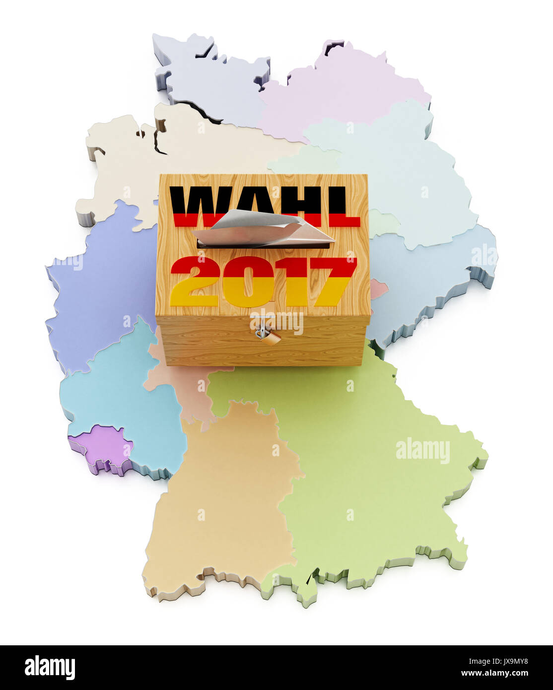 Map Of Germany Divided.Ballot Box On Germany Map Divided Into Regions 3d Illustration