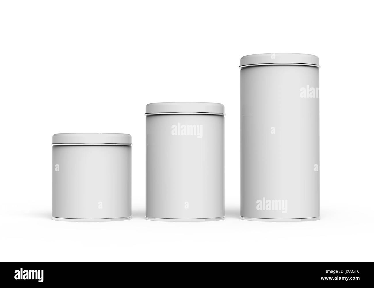 metal tin mockup blank round tin cans template with glossy surface