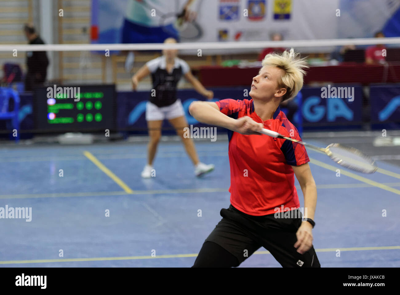 St. Petersburg, Russia - July 7, 2017: Elena Komendrovskaja of Russia (in front) vs Delphine Lansac of France in 3rd day of badminton tournament White - Stock Image