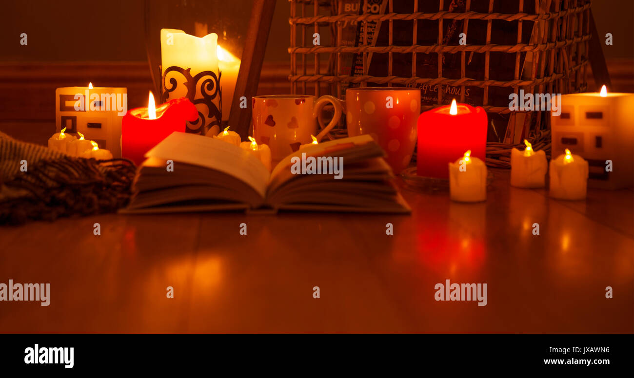 Hygge is a Danish  word which can be described as a quality of cosiness and comfortable conviviality that engenders a feeling of contentment - Stock Image