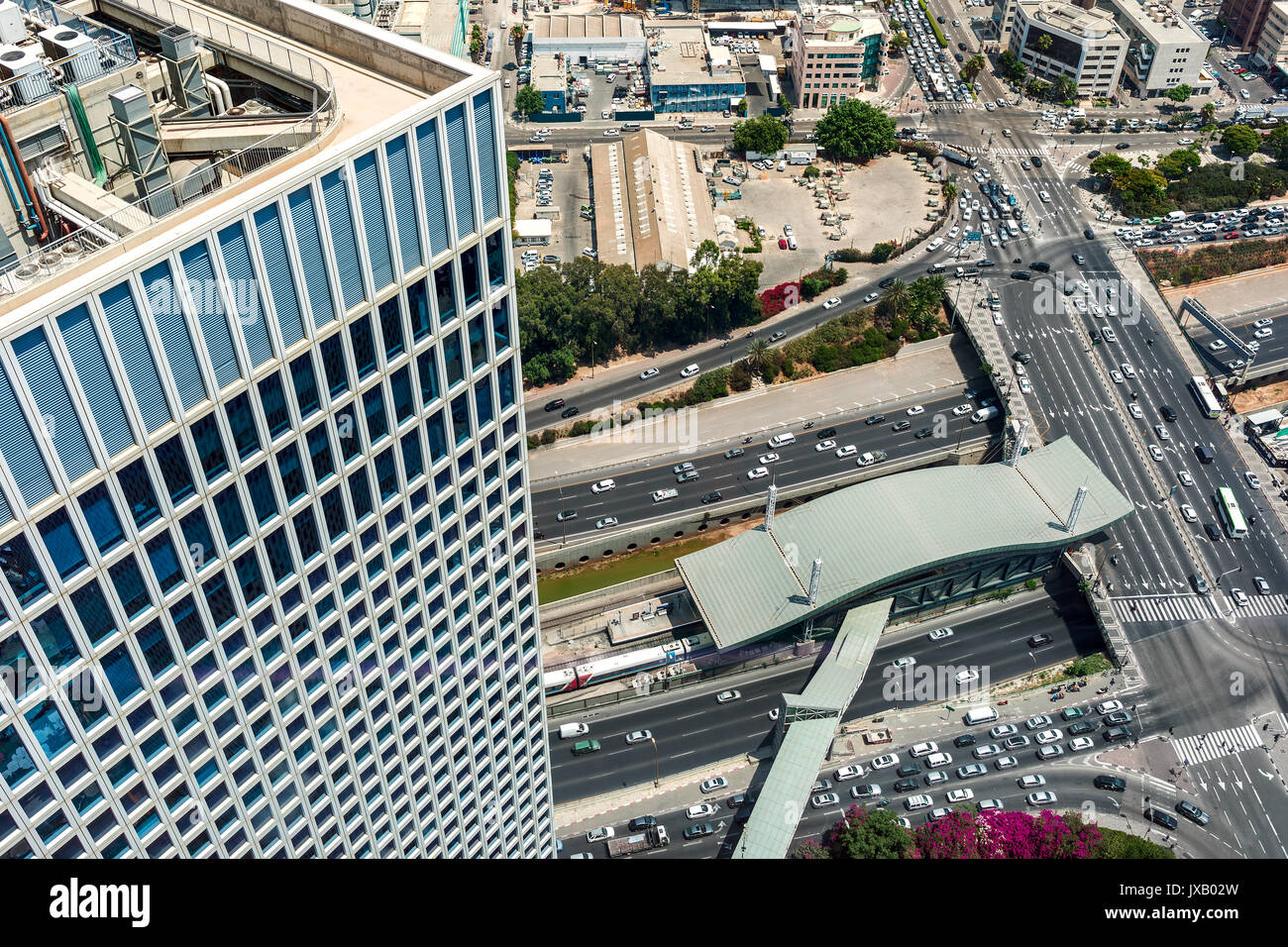 View of urban roads, freeways and modern building in Tel Aviv, Israel. - Stock Image