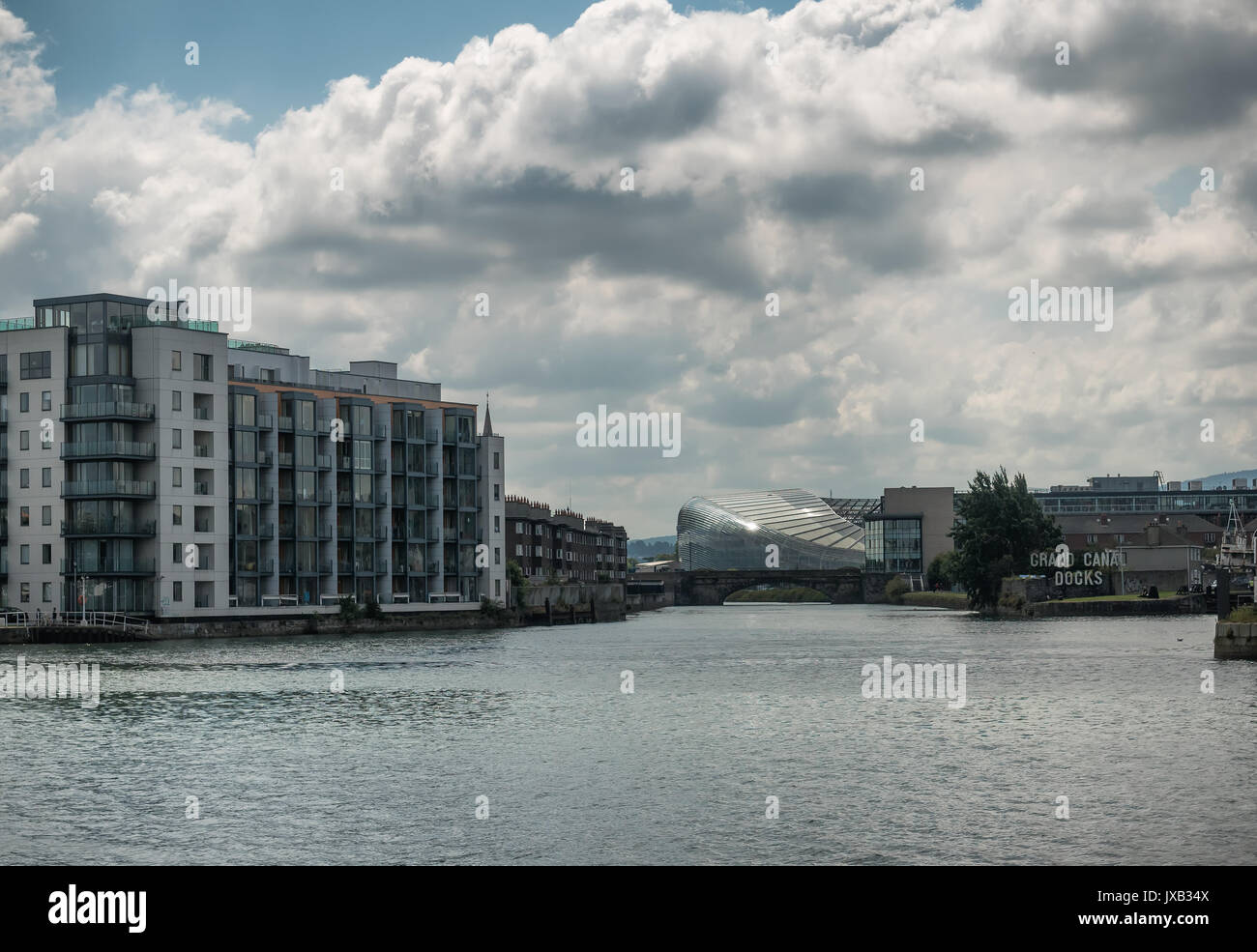Docklands at the river Liffey in Dublin, Ireland - Stock Image