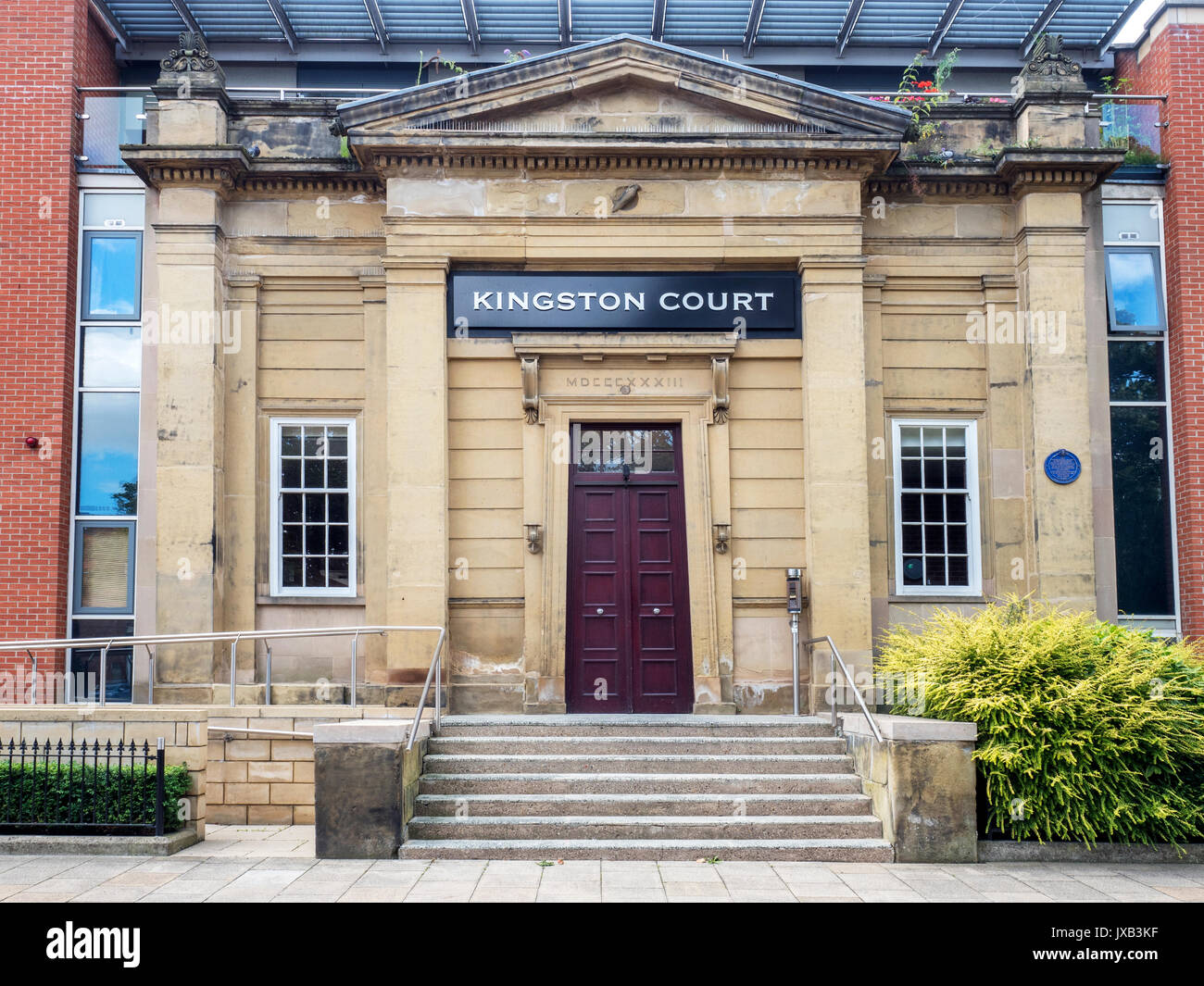 Kingston Court Building Including Listed Facade of Former Hull Medical School in Kingston Square Hull Yorkshire England - Stock Image