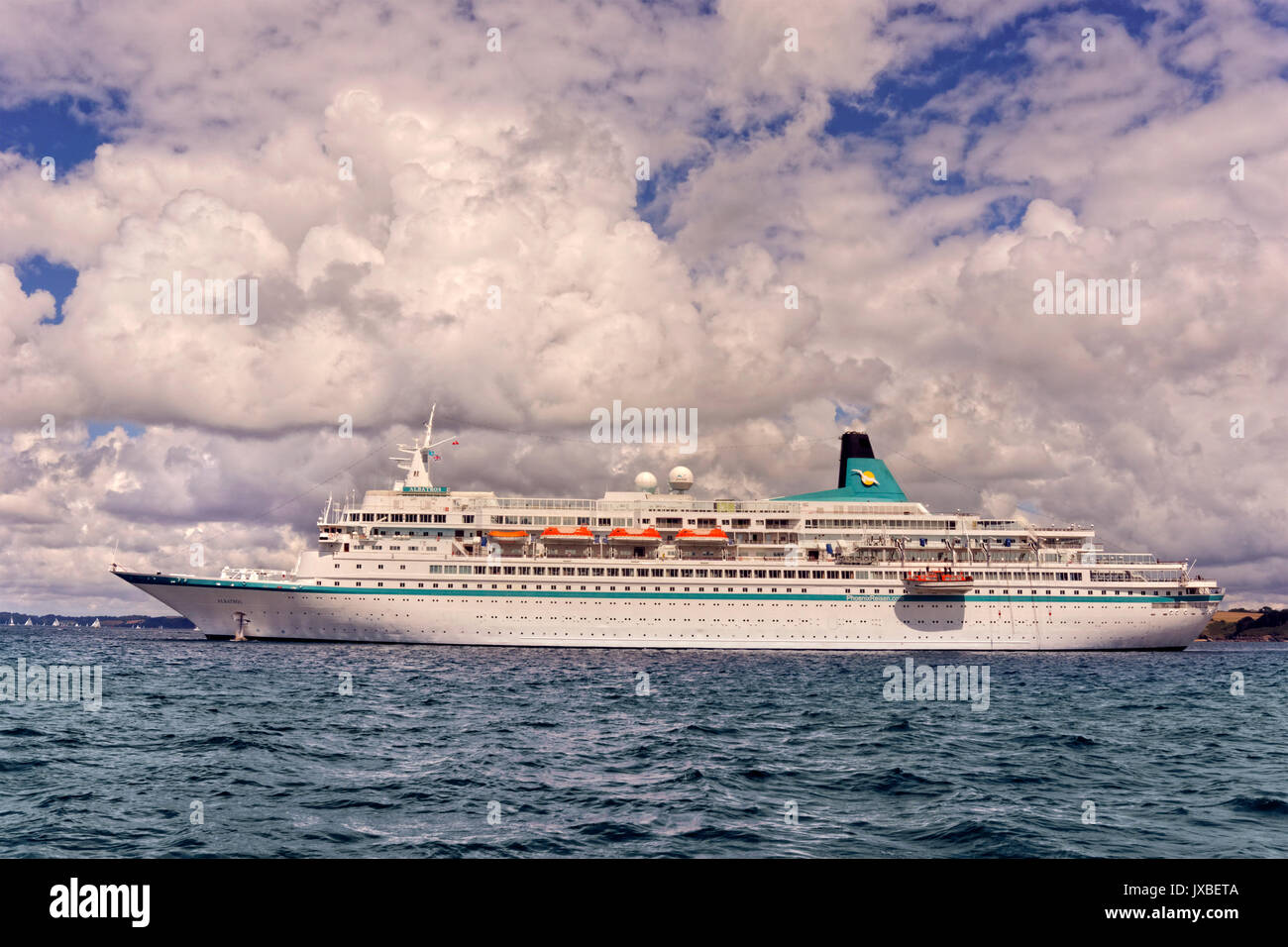 Cruise ship 'Albatros' anchored in the Carrick Roads, Falmouth, England, UK. - Stock Image