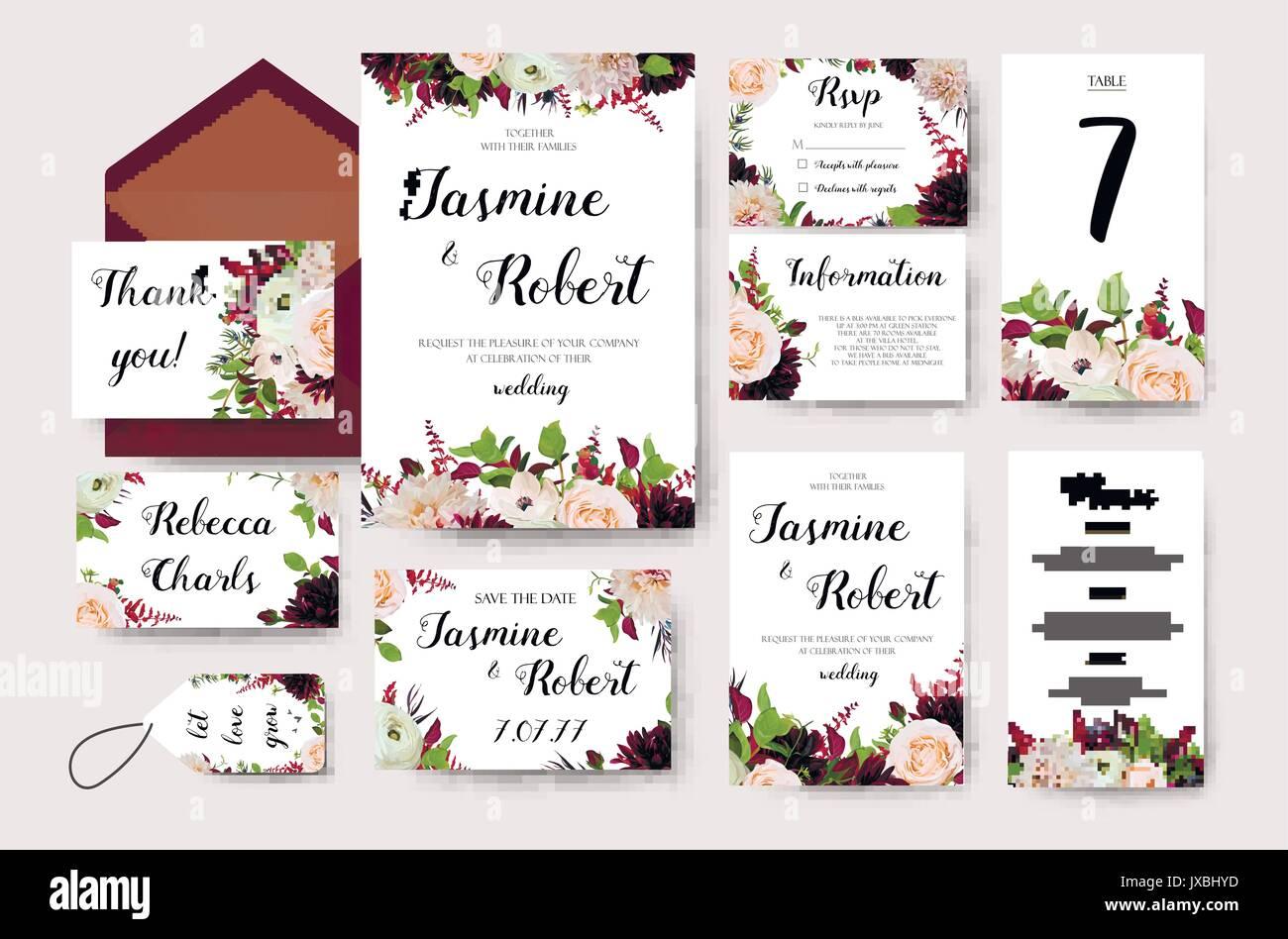 Wedding invitation flower invite card design with garden peach rose ...