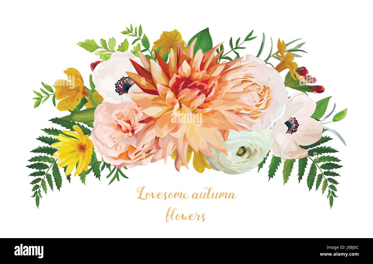 Flower Airy Loose Wreath Bouquet Of Pink Garden Rose Yellow Primrose Stock Vector Image Art Alamy